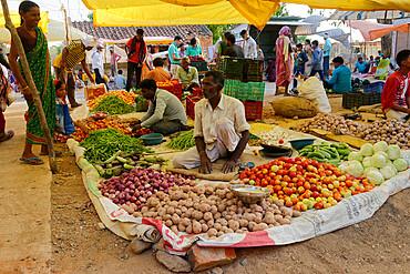Kanha street market, Madhya Pradesh State, India, Asia