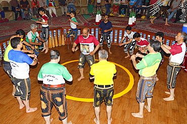 Koshti, traditional ritual training course for warriors in the Yazd Zourkhaneh, gymnasium or House of Strength, Yazd, Iran, Middle East