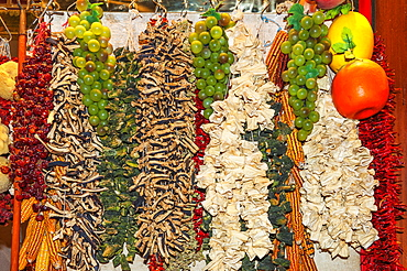 Dried vegetables, Egyptian bazaar, Istanbul, Turkey, Europe