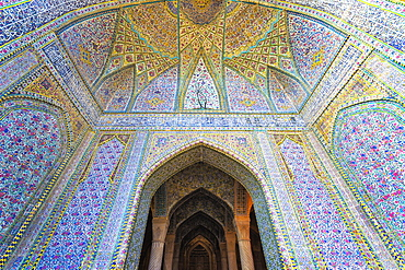 Walls and ceiling covered with colorful faience tiles, Vakil Mosque, Shiraz, Fars Province, Iran, Middle East