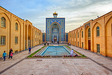 Mozaffari Jame Mosque (Friday Mosque), facade decorated with floral patterns, Kerman, Kerman Province, Iran, Middle East