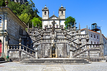 Nossa Senhora da Peneda Sanctuary and Virtue stairway, Peneda Geres National Park, Gaviera, Minho province, Portugal, Europe