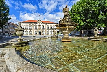 Braga City Hall and fountain, Braga, Minho, Portugal, Europe