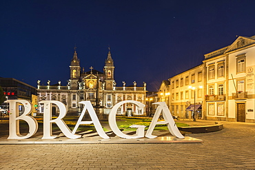 Carlos Amarante square at night with illuminated 18th century Sao Marcos Church, Braga, Minho, Portugal, Europe