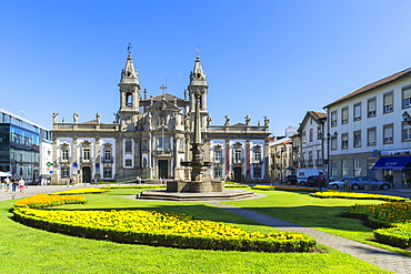 Carlos Amarante square with 18th century Sao Marcos Church and former hospital converted into an hotel, Braga, Minho, Portugal, Europe
