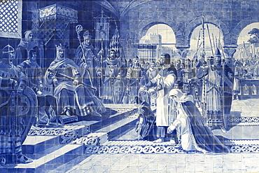 Sao Bento railway station, Azulejos representing Egas Moniz (o Aio) presenting himself to the king of Leon, Porto, Portugal, Europe