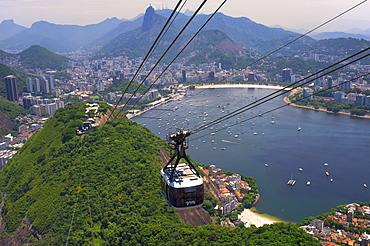 View over Botafogo and the Corcovado from the Sugar Loaf Mountain, Rio de Janeiro, Brazil, South America