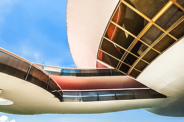 Detail of the structure of the Niemeyer Museum of Contemporary Arts, Niteroi, Rio de Janeiro, Brazil, South America