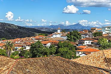 View over Diamantina and the Nossa Senhora do Amparo Church, Diamantina, UNESCO World Heritage Site, Minas Gerais, Brazil, South America