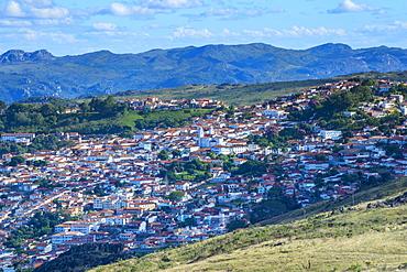 View over Diamantina, UNESCO World Heritage Site, Minas Gerais, Brazil, South America