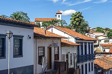 View over Sabara and Nossa Senhora do Carmo Church, Belo Horizonte, Minas Gerais, Brazil, South America