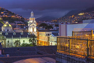 Metropolitan Cathedral at night, Independence Square, Quito, UNESCO World Heritage Site, Pichincha Province, Ecuador, South America