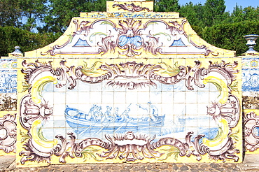 Azulejos of the tiled canal, Royal Summer Palace of Queluz, Lisbon, Portugal, Europe