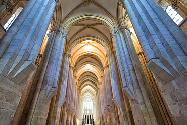 Central nave, Santa Maria Monastery, UNESCO World Heritage Site, Alcobaca, Estremadura, Portugal, Europe