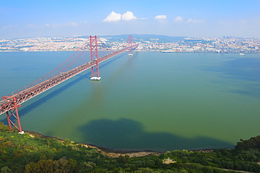 Ponte 25 de Abril (25th of April Bridge) over the Tagus River, Lisbon, Portugal, Europe