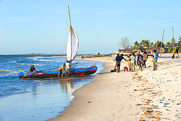 Malagasy fishermen coming back from a fishing trip, Morondava, Toliara province, Madagascar, Africa