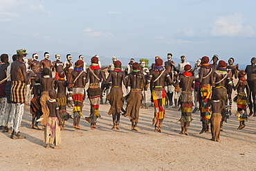 Nyangatom (Bumi) tribal dance ceremony, Omo River Valley, Ethiopia, Africa