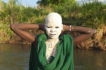 Surma boy with body paintings, Kibish, Omo River Valley, Ethiopia, Africa