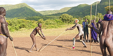Donga stick fighters, Surma tribe, Tulgit, Omo River Valley, Ethiopia, Africa