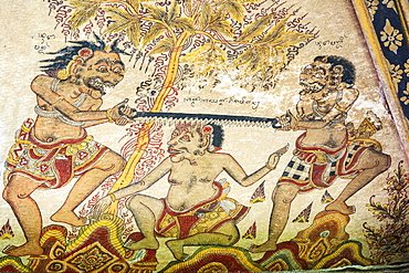 Traditional Kamasan paintings, Kertha Gosa pavilion (former Hall of Justice) in Puri Semarapura Palace, Klungkung, Bali, Indonesia, Southeast Asia, Asia
