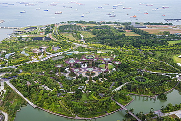 Aerial view, Gardens by the Bay, Singapore, Southeast Asia, Asia