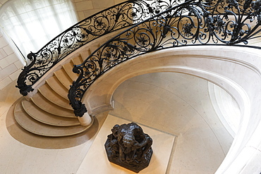 Circular staircase with the statue Ugolino and His Son by Jean-Baptiste Carpeaux, Petit Palais, Paris, France, Europe