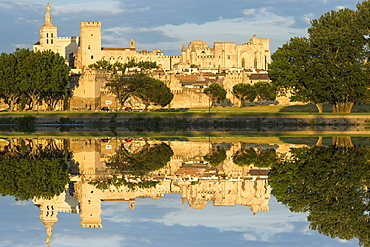 Palais des Papes, UNESCO World Heritage Site, reflected in the River Rhone, Avignon, Vaucluse, Provence, France, Europe