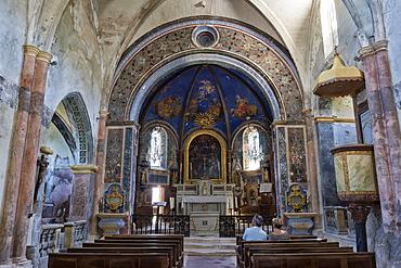 Interior of Notre Dame Dalidon Church, Medieval village of Oppede le Vieux, Vaucluse, Provence Alpes Cote d'Azur region, France, Europe