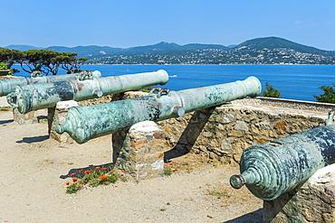 Guns of the St. Tropez citadel, Var, Provence Alpes Cote d'Azur region, France, Mediterranean, Europe
