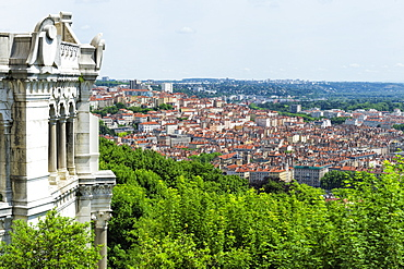 View over Lyon from the Fourviere Hill, Lyon, Rhone, France, Europe