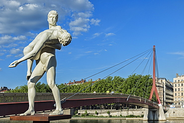 The Weight of Oneself statue on the Saone Banks near the Palais de Justice footbridge, Lyon, Rhone, France, Europe