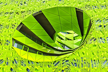 Green Cube, Headquarters of television channel Euronews, La Confluence district, Lyon, Rhone, France, Europe