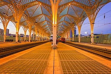 Oriente train station at sunset, Parque das Nacoes, Lisbon, Portugal, Europe