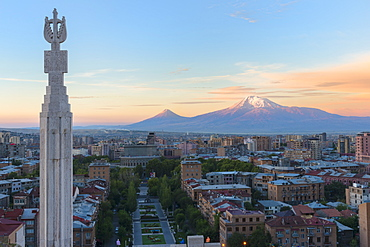 Mount Ararat and Yerevan viewed from Cascade at sunrise, Yerevan, Armenia, Central Asia, Asia