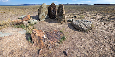 Ancient fireplace stones, site of a 12th century camp of Ghengis Khan and his troops, Altyn-Emel National Park, Almaty region, Kazakhstan, Central Asia, Asia