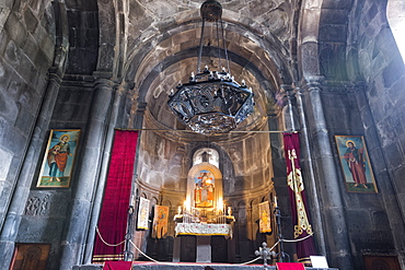 Main altar in the interior of the 4th century Geghard Monastery, UNESCO World Heritage Site, Kotayk Province, Yerevan, Armenia, Caucasus, Asia