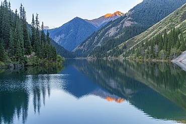 Kolsay Lake at early morning, Tien Shan Mountains, Kazakhstan, Central Asia, Asia