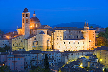 Ducal Palace at night, Urbino, Le Marche, Italy, Europe