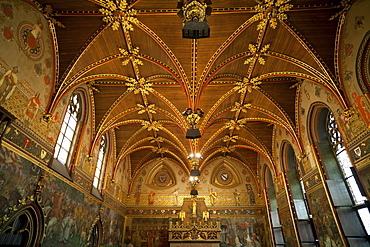 Vaulted ceiling of the Gothic Hall inside the Town Hall, Bruges, Belgium, Europe