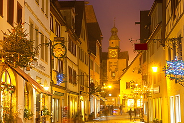 Hafengasse Street and the Markusturm at Christmas, Rothenburg ob der Tauber, Bavaria, Germany, Europe