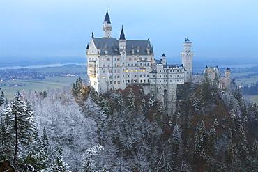 Neuschwanstein Castle in winter, Fussen, Bavaria, Germany, Europe
