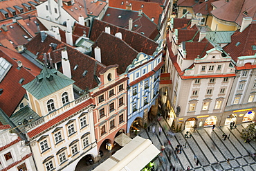 Overview of buildings on the Old Town Square, UNESCO World Heritage Site, Prague, Czech Republic, Europe