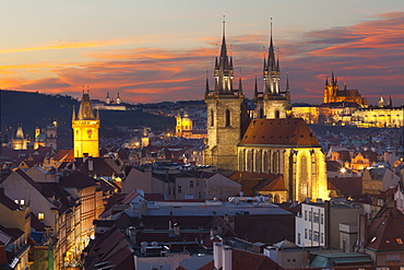 Overview of the Historic Centre at sunset, Prague, Czech Republic, Europe