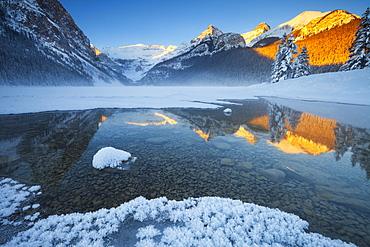 Lake Louise at Sunrise in Winter, Banff National Park, Alberta, Canada, North America