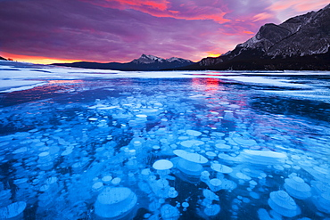 Bubbles and Cracks in the Ice with Kista Peak in the Background at Sunrise, Abraham Lake, Alberta, Canada, North America