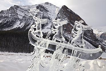 Ice Sculpture at the 2015 Lake Louise Ice Magic Festival, Lake Louise, Banff National Park, Alberta, Canada, North America
