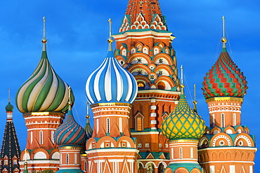 St. Basil's Cathedral lit up at night, UNESCO World Heritage Site, Moscow, Russia, Europe