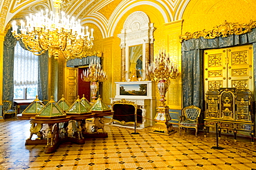 The Golden Drawing Room inside the Winter Palace, State Hermitage Museum, UNESCO World Heritage Site, St. Petersburg, Russia, Europe