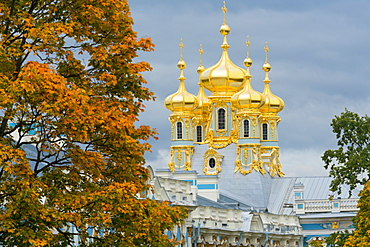 View of the domes of the Chapel of the Catherine Palace, UNESCO World Heritage Site, Pushkin, near St. Petersburg, Russia, Europe