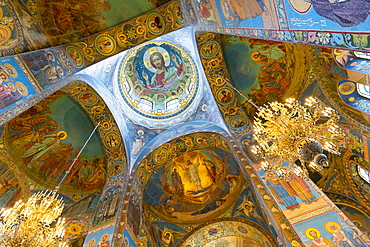 Ceiling of the Church on the Spilled Blood, UNESCO World Heritage Site, St. Petersburg, Russia, Europe